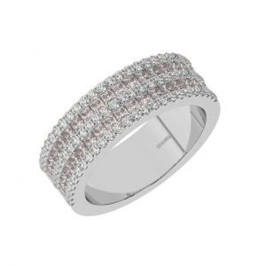 FR2049M 0.50cts Claw Set Baguette Cut Morganite Half Eternity Ring-1