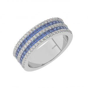 FR2049S 0.50cts Claw Set Baguette Cut Blue Sapphire Half Eternity Ring-1