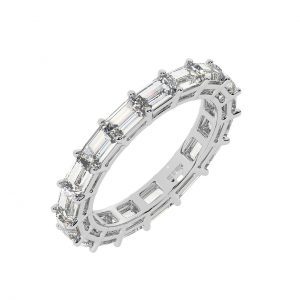FR2050 2.5cts Claw Set Baguette Cut Diamond Full Eternity Ring-1