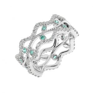 FR2203E 1.0 Carat Fishtail Set Round Brilliant Cut Diamond & Emerald Full Eternity Ring-1