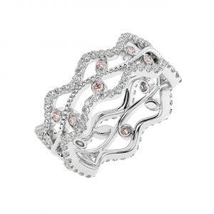 FR2203M 1.0 Carat Fishtail Set Round Brilliant Cut Diamond & Morganite Full Eternity Ring-1