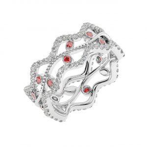FR2203R 1.0 Carat Fishtail Set Round Brilliant Cut Diamond & Ruby Full Eternity Ring-1
