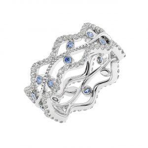 FR2203S 1.0 Carat Fishtail Set Round Brilliant Cut Diamond & Blue Sapphire Full Eternity Ring-1