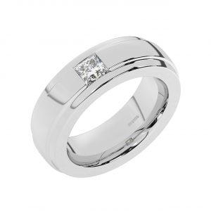FR2207 0.40 Carat Channel Set Princess Cut Diamond Gents Ring-1