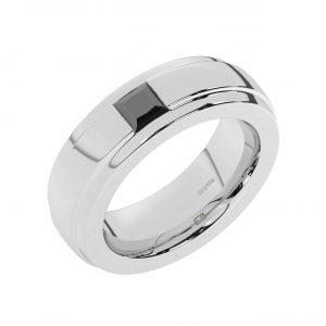FR2207 0.50 Carat Channel Set Black Princess Cut Diamond Gents Ring-1