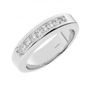 FR2222 6mm, 1 Cts Princess Cut Diamond Men Heavyweight Wedding Band-1