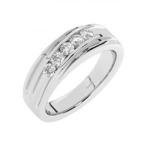 FR2225 8mm, Round Brilliant Cut Diamond Men Wedding Designer Ring-1