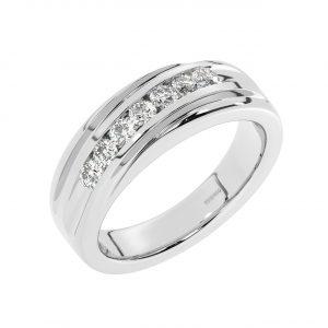 FR2226 7 Round Brilliant Cut Diamonds Men Wedding Designer Ring-1