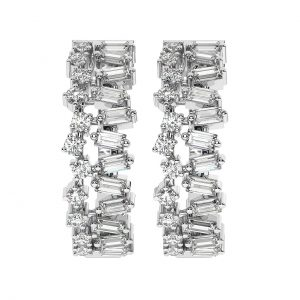 FE2018 1.40 Cts Round Diamonds & Baguette Cut Diamonds Hoop Earrings in-4