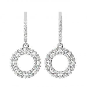 FE2019 1.20 Carat Prong Set Round Brilliant Cut & Baguette Cut Diamonds Earrings-1