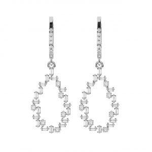 FE2020 1.0 Carat Claw Set Round, Princess & Baguette Cut Diamonds Dangler Earrings-1