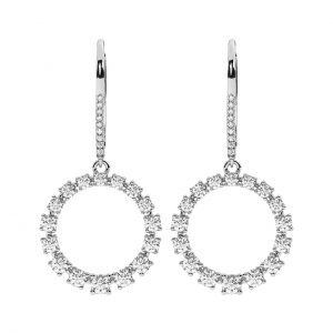 FE2025 1.70 Cts Claw Set Round Brilliant Cut Diamond Circle Earrings in 18K White Gold(3)
