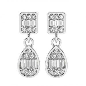 FE2029 1.0 Carat Round Brilliant Cut & Baguette Diamond Earrings in -7