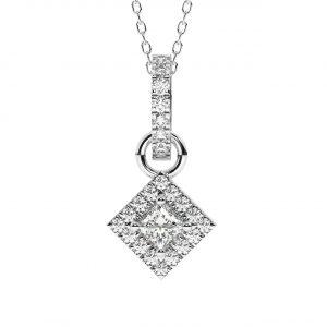 FP738 0.50 Carat Claw Set Round Brilliant & Princess Cut Diamonds Necklace-1