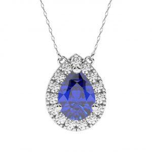 FP739 1 Carat Claw Set Round Brilliant Cut Diamonds & Blue Sapphire Pear Necklace-1