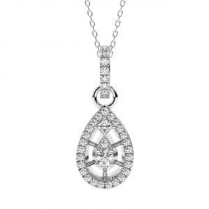 FP740 0.50 Carat Pave Set Round Brilliant & Princess Cut Diamonds Pendant-1